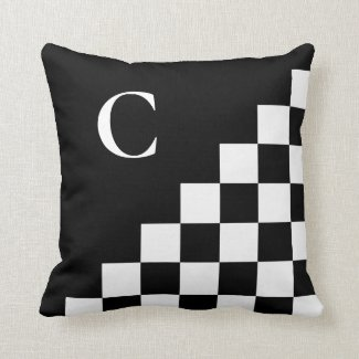 Bold Black White Checkered Pattern with Monogram Throw Pillow