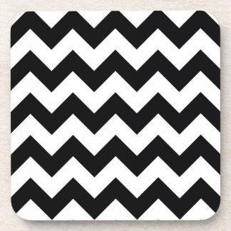 Bold Black & White Chevron Zig Zag Pattern Beverage Coaster