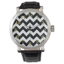 Bold Black & White Chevron Zig Zag Pattern Watch