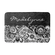 Bold Black White Floral Design Bath Mat at Zazzle