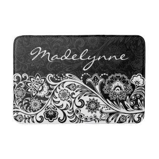 Bold Black White Floral Design Bath Mat