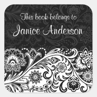 Bold Black White Floral Design Bookplate Sticker