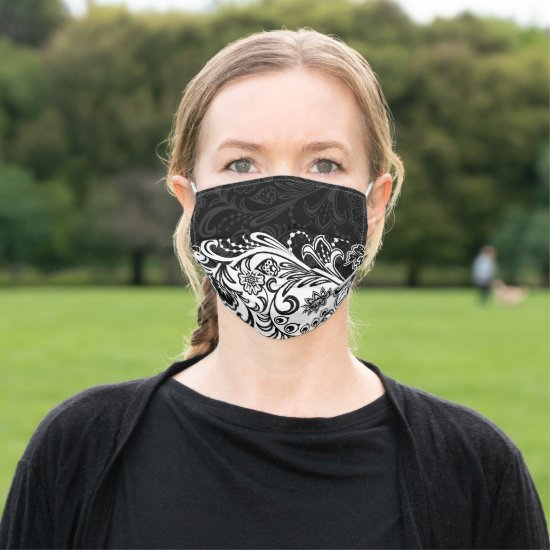 Bold Black White Floral Design Face Mask
