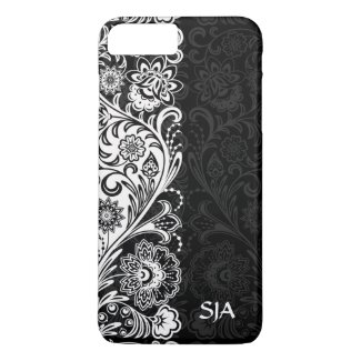Bold Black White Floral Design iPhone 7 Plus Case