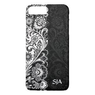 Bold Black White Floral Design iPhone 7 Plus Case