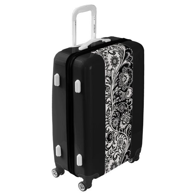 Bold Black White Floral Design Luggage