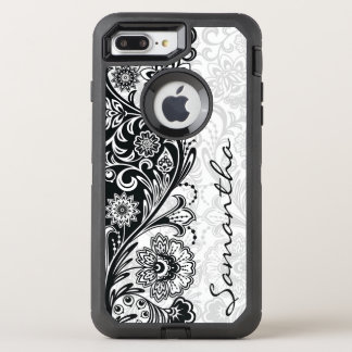 Bold Black White Floral Design Otter Box OtterBox Defender iPhone 7 Plus Case