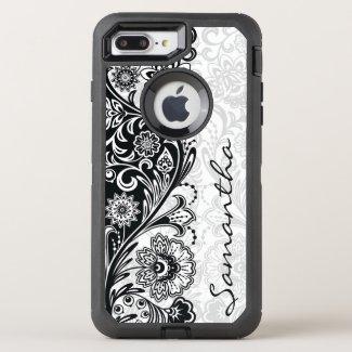 Bold Black White Floral Design Otter Box