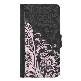 Bold Black White Floral Design Wallet Case