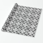 Bold Black & White Floral Graphic Design Gift Wrap Paper