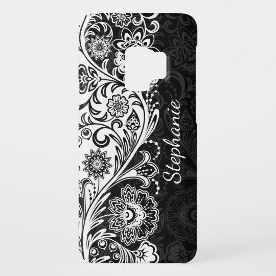 save off 47fa1 78e59 Bold Black White Floral Samsung Galaxy S9 Case
