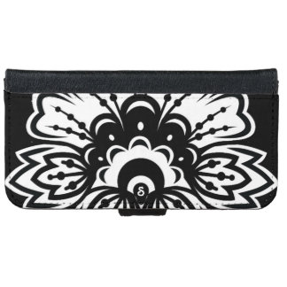 Bold Black White Flower Design iPhone Wallet iPhone 6 Wallet Case