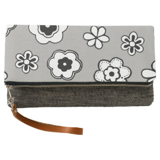 Bold Black & White Flowers Fold Over Clutch
