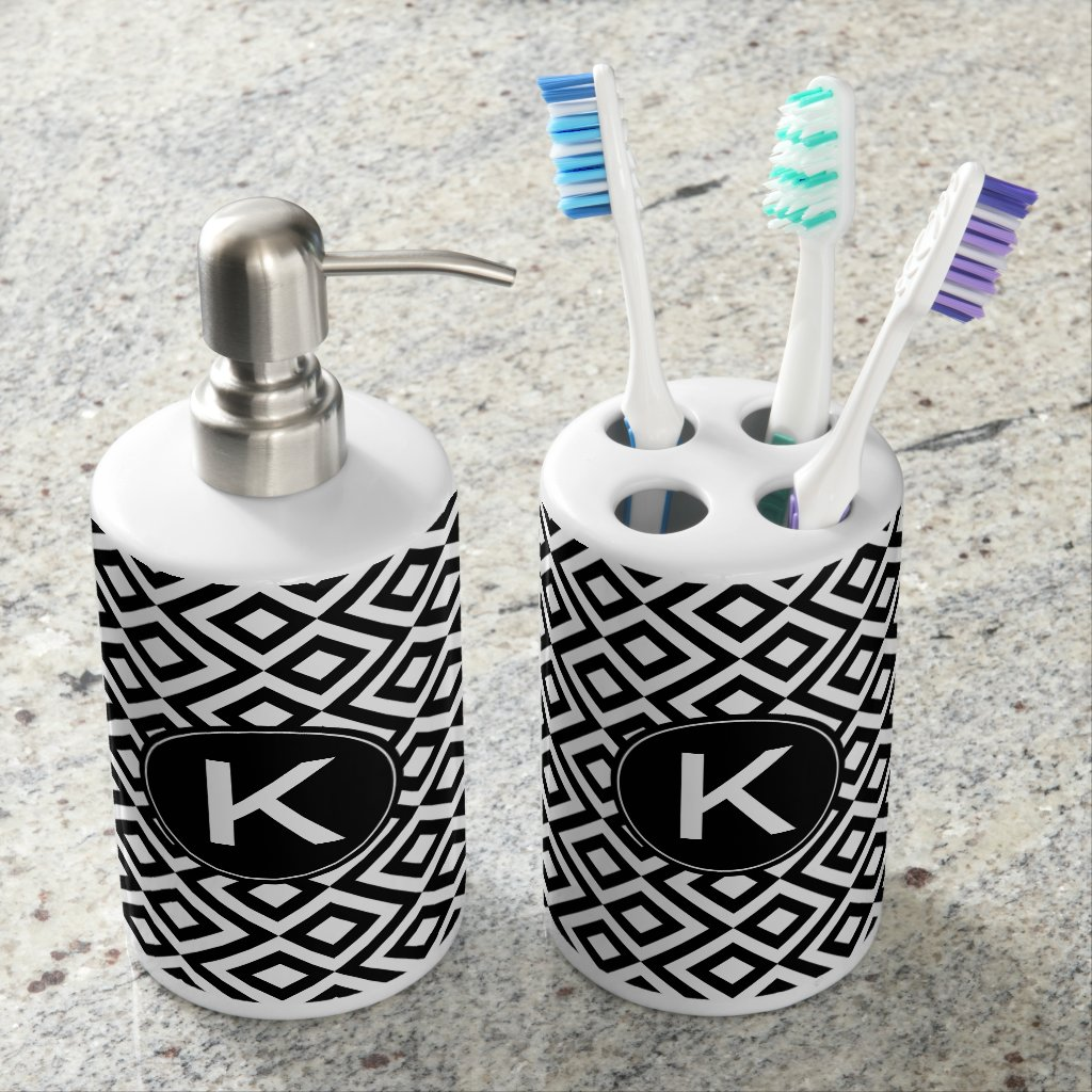 Bold Black White Geometric Meander Custom Monogram Soap Dispenser And Toothbrush Holder