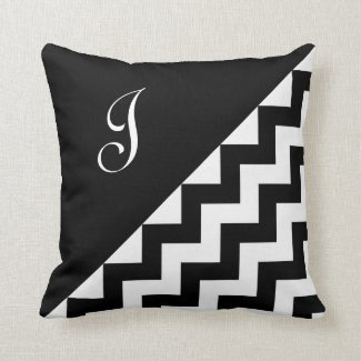 Bold Black White Geometric Zigzag Pattern Monogram Throw Pillow