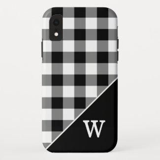 Bold Black White Gingham Plaid Pattern Monogram iPhone XR Case