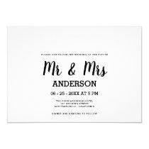 Bold black white handwritten script MR MRS wedding Invitation
