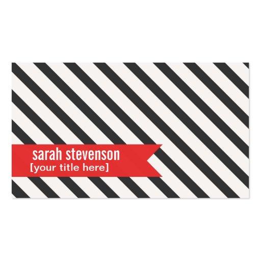 Bold Black white Stripes Red Ribbon Business Card