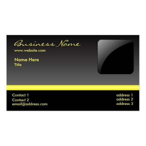 Bold Black & Yellow business card - add your logo