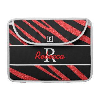 BOLD BLACK ZEBRA STRIPES NAME RED GLITTER SLEEVE FOR MacBook PRO