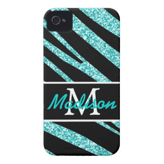 BOLD BLACK ZEBRA STRIPES NAME TEAL GLITTER iPhone 4 CASE