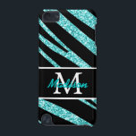 "BOLD BLACK ZEBRA STRIPES NAME TEAL GLITTER iPod TOUCH (5TH GENERATION) COVER<br><div class=""desc"">BOLD, GIRLY, BLACK AND TEAL BLUE ZEBRA STRIPES PATTERN WITH AQUA BLUE OR TEAL GLITTER EFFECT PRINTED WITH YOUR INITIAL OR MONOGRAM AND YOUR NAME ON A BLACK AND WHITE LINE. ANIMAL PRINT. Personalize with your name, monogram, initial or text. Elke Clarke&#169; Makes a great fashion accessory for her. The...</div>"