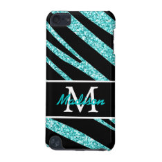 BOLD BLACK ZEBRA STRIPES NAME TEAL GLITTER iPod TOUCH (5TH GENERATION) COVER at Zazzle