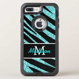 BOLD BLACK ZEBRA STRIPES NAME TEAL GLITTER OtterBox DEFENDER iPhone 8 PLUS/7 PLUS CASE