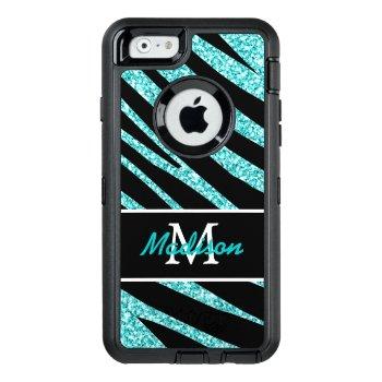 Bold Black Zebra Stripes Name Teal Glitter Otterbox Defender Iphone Case by epclarke at Zazzle