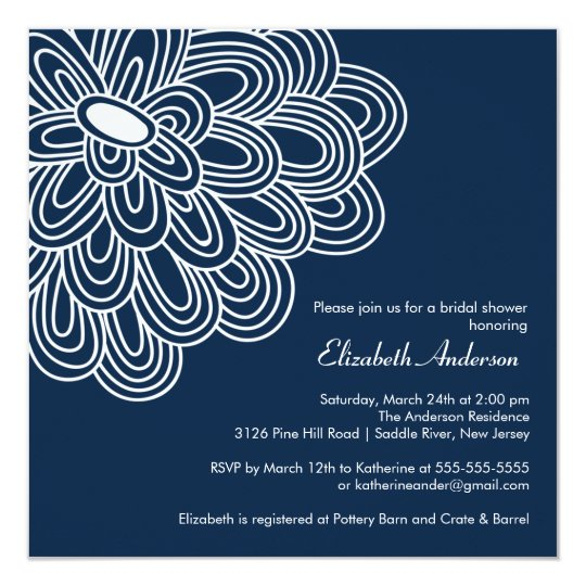 Bold Bloom Navy Blue Bridal Shower Invitation Zazzle