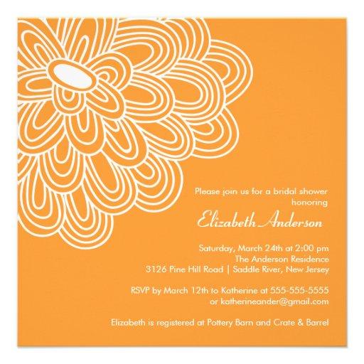 Bold Bloom Orange & White Bridal Shower Invitation