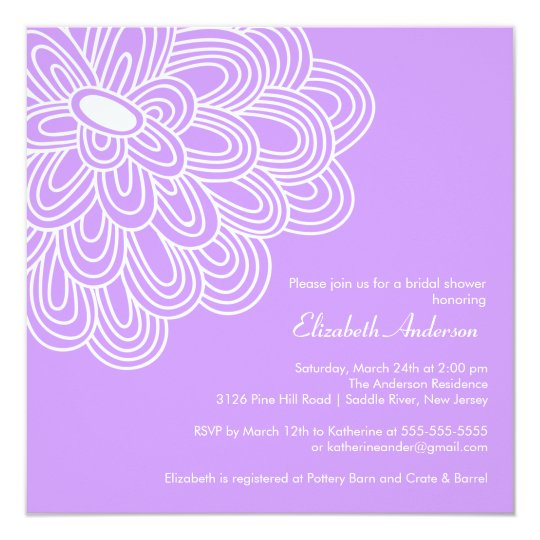 Bold Bloom Purple & White Bridal Shower Invitation