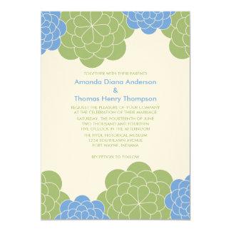 "Bold Blooms Modern Wedding Invitations (green) 5"" X 7"" Invitation Card"