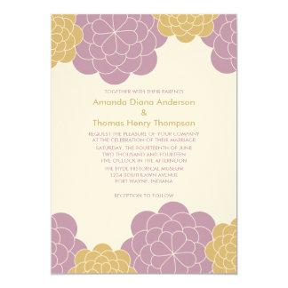 "Bold Blooms Modern Wedding Invitations (mauve) 5"" X 7"" Invitation Card"