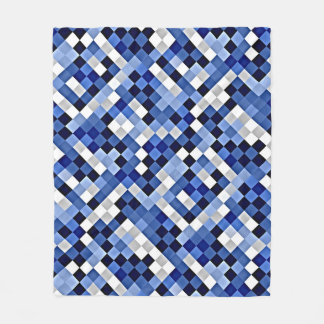 Bold Blue Abstract Mosaic Pattern Fleece Blanket
