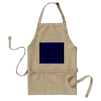 Bold Blue and Black Mosaic Square Pattern Adult Apron