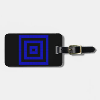 Bold Blue and Black Mosaic Square Pattern Luggage Tag