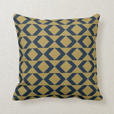 Aztec Themed Bold Blue and Gold modern chevron throw pillow