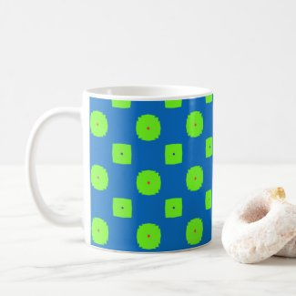Bold Blue and Green Checked Coffee Mug
