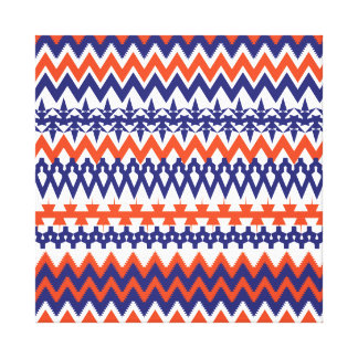 Bold Blue and Orange Tribal Chevron Pattern Canvas Print