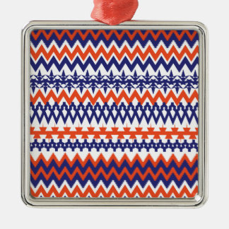 Bold Blue and Orange Tribal Chevron Pattern Metal Ornament