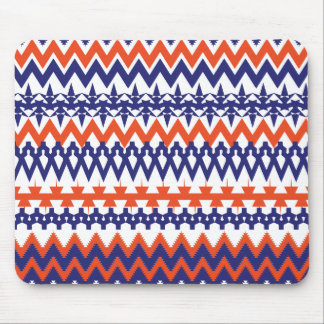 Bold Blue and Orange Tribal Chevron Pattern Mouse Pad