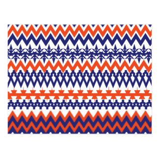 Bold Blue and Orange Tribal Chevron Pattern Postcard