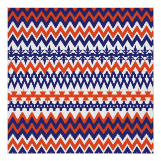 Bold Blue and Orange Tribal Chevron Pattern Poster