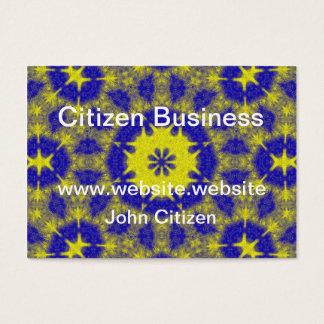 Bold blue and yellow kaleidoscope business card