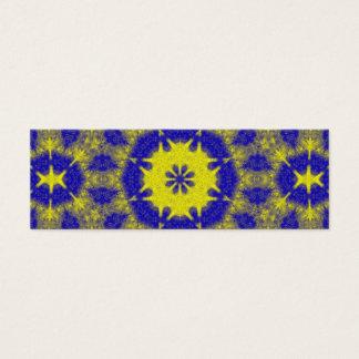 Bold blue and yellow kaleidoscope mini business card