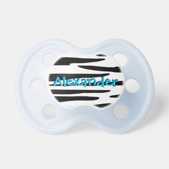 Bold Blue and Zebra Print Baby Boy Pacifier