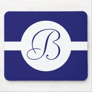 Bold Blue Circle Monogram Mouse Pad