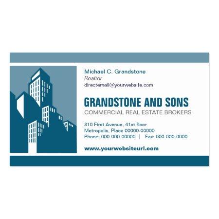 Bold Blue Teal City Skyline Construction Business Cards Temple