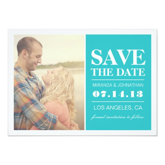 Bold Blue Elegance Photo Save The Date Invites
